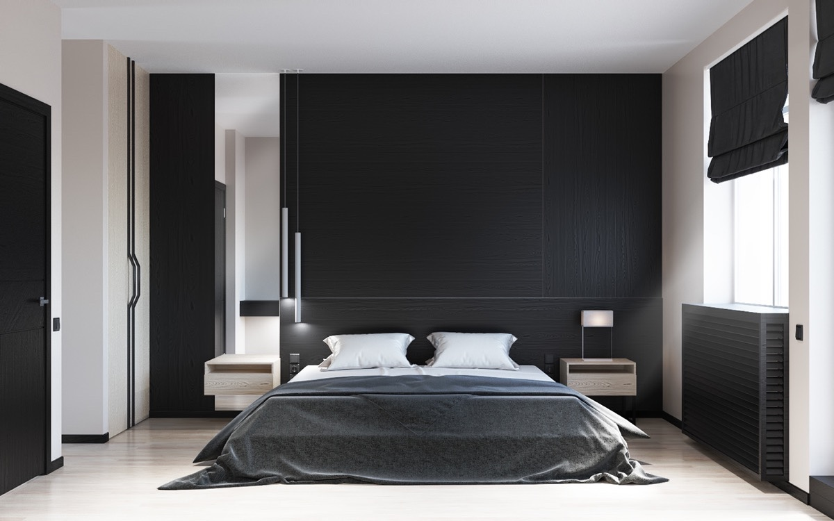 black and white bedroom 2 |; visualizer: kriss maksymchuk JPJIBHC