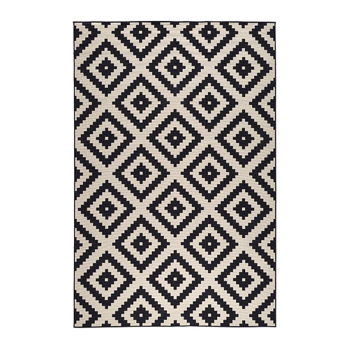 black and white rug lappljung ruta rug, low pile - 6 u0027 7  OJOCRHY