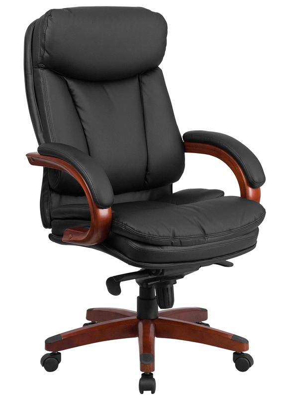 btod high back leather office chair - mahogany wood base VAKLUSL