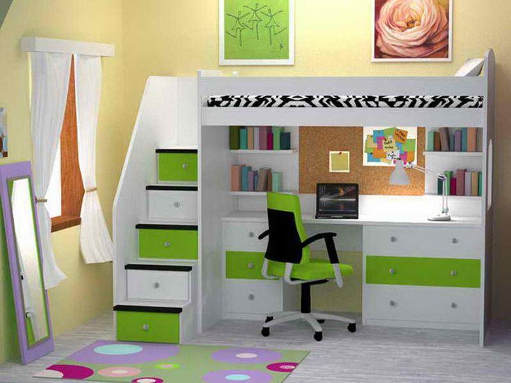 Modern bunk beds with desks