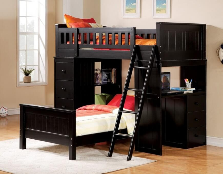 bunk beds with desk this rich wood desk bed features a desk built into the side of JRWOGDX