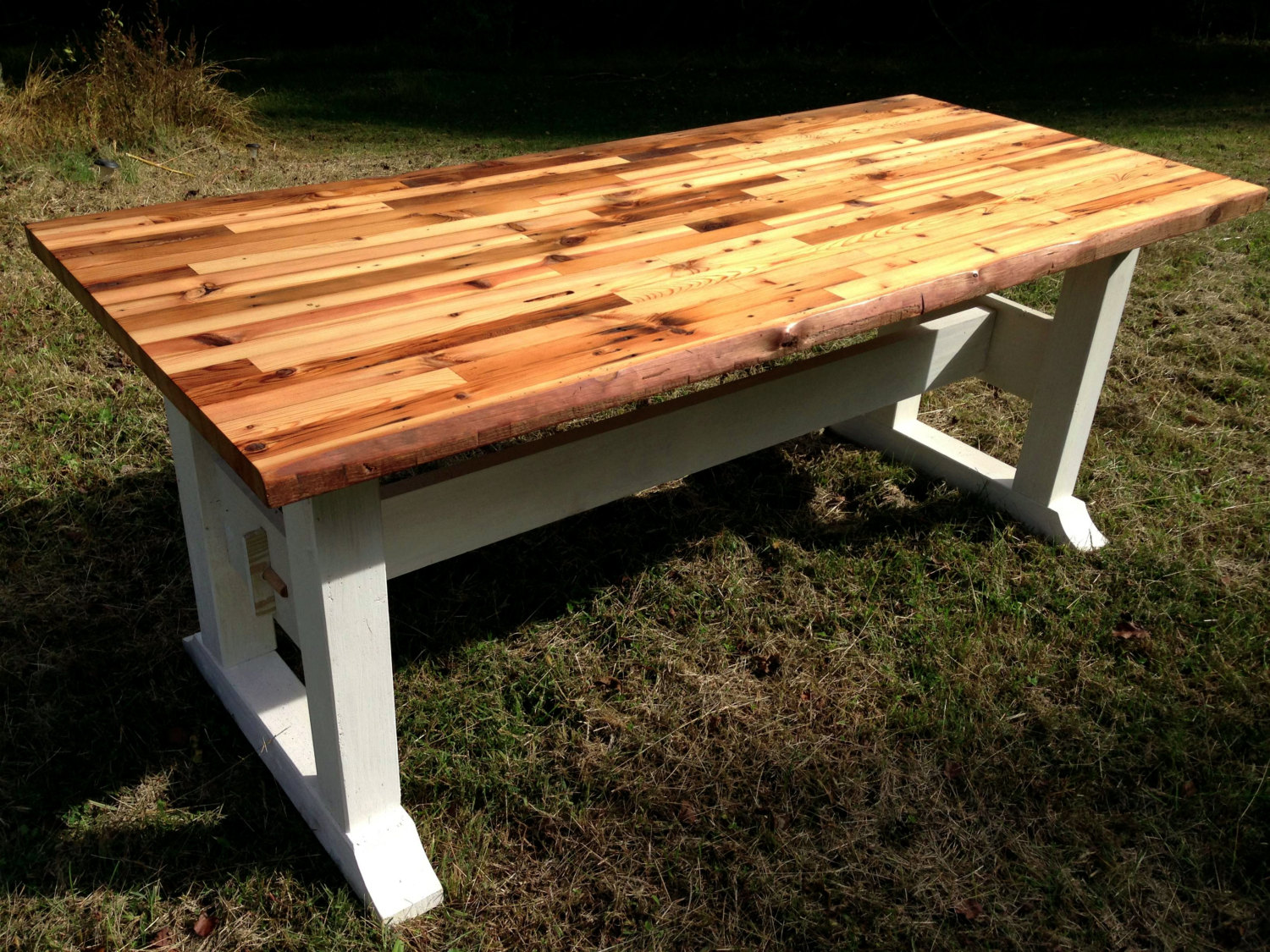 butcher block table top and trestle frame JDDRZAB