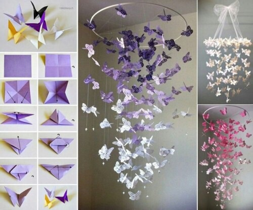 butterfly origami diy room decor UQZOJRI
