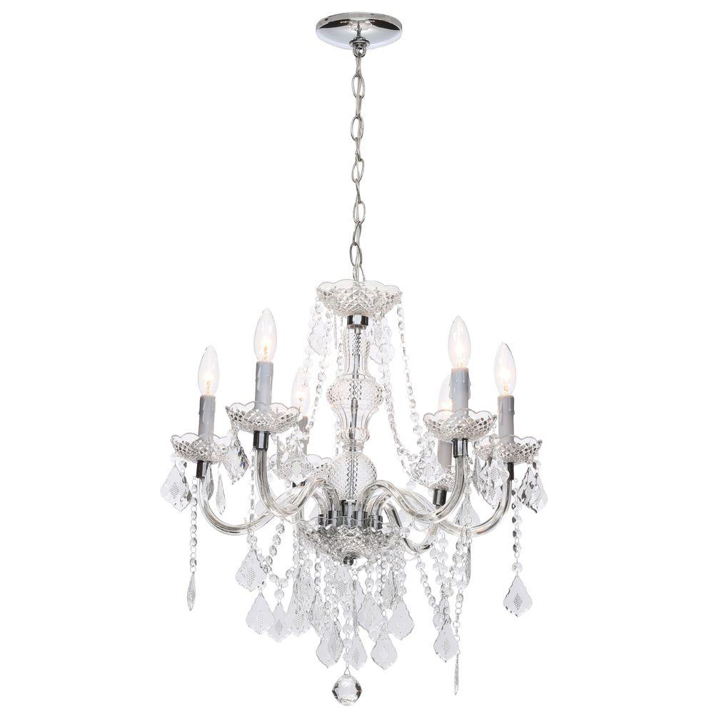chandeliers maria theresa 6-light chrome chandelier JMRDEZG