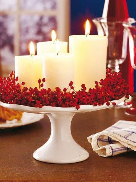 christmas decorating ideas cake plate and candles for christmas decoration... i would add greenery more MAWSJEA