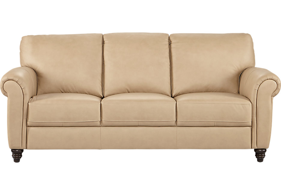 cindy crawford home lusso taupe leather sofa - leather sofas (beige) ZPFGBMV