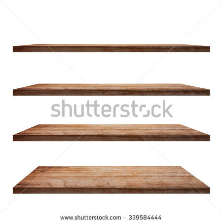 collection of wooden shelves on an isolated white background, objects with  clipping SBMTYHV