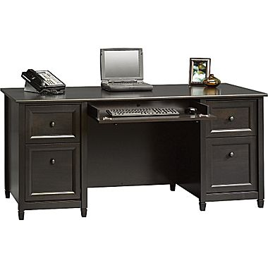 computer desk sauder® edgewater collection executive desk, estate black JDLMXZS