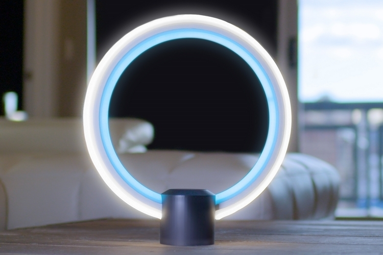 cool lamps this circular table lamp comes with amazonu0027s alexa onboard BSIOCLN