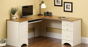 corner desk sauder harbor view corner computer desk, antiqued paint finish - walmart.com JPIQYFM