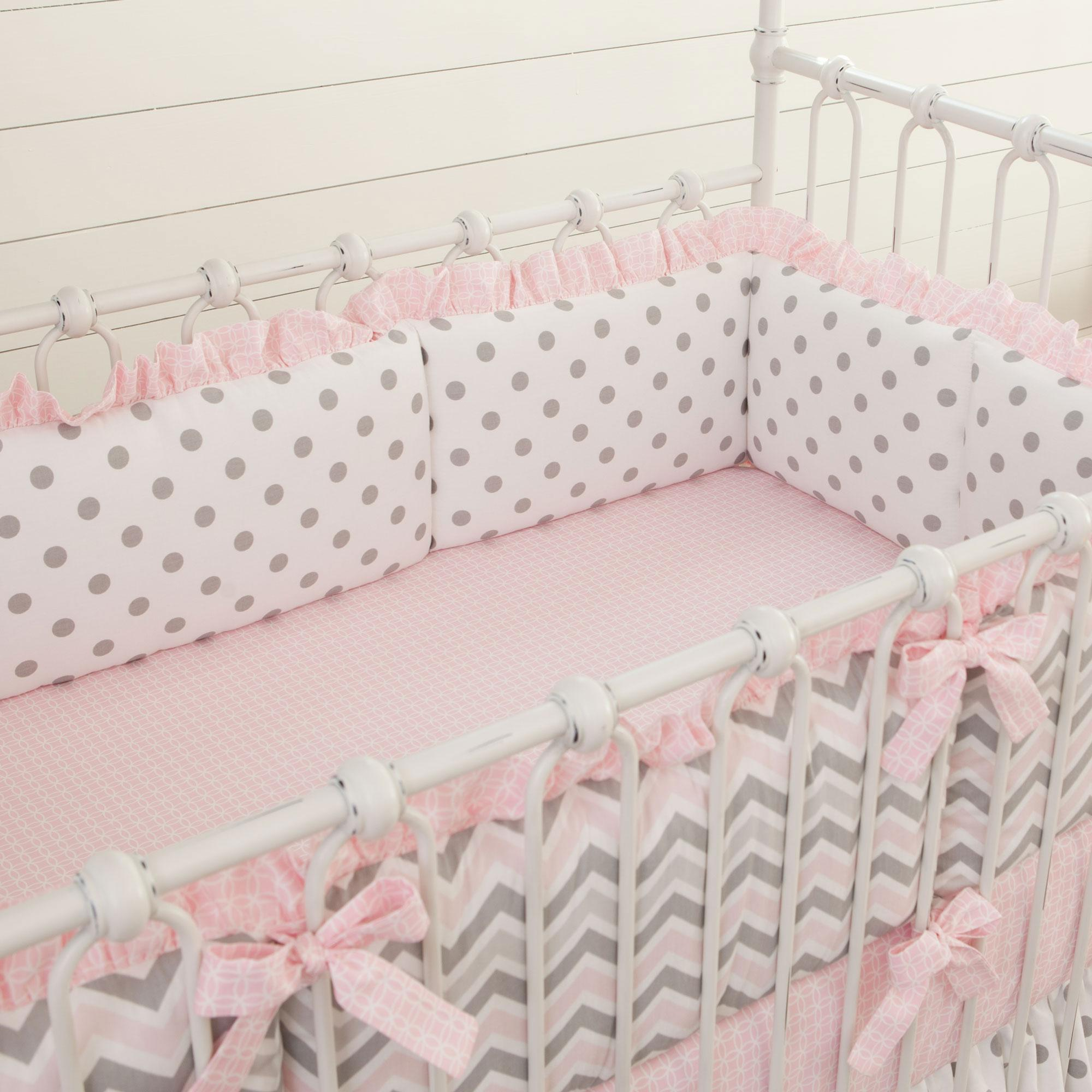 crib bumpers pink and gray chevron crib bumper LDIUWQV