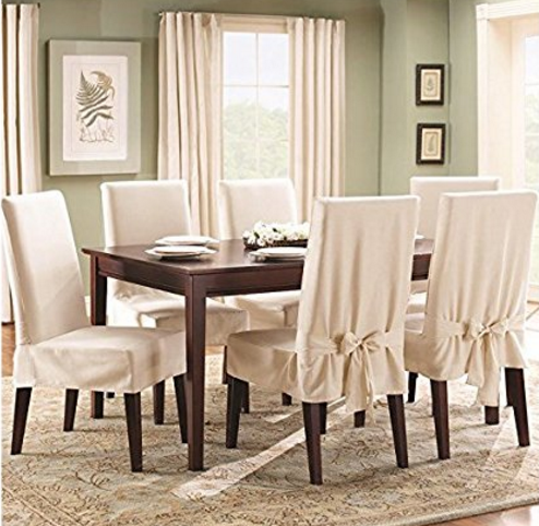 dining room chair covers sure fit cotton duck shorty dining room chair cover, natural GMZKMBC