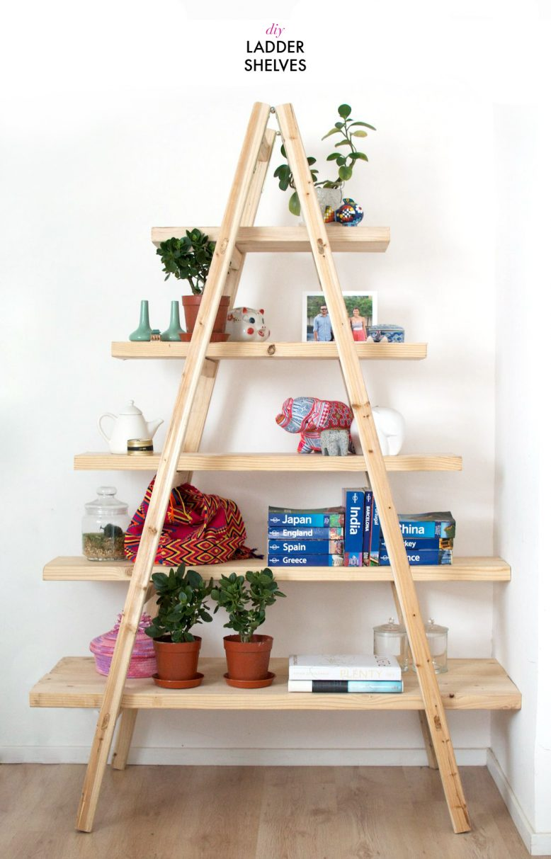 diy ladder shelves EKHPDPJ