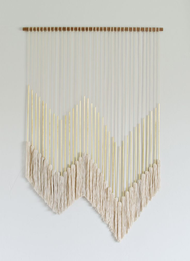 Diy Wall Decor Diy Modern Gold Wall Hanging With Tassels @ Brittanymakes  ZFVJCAB