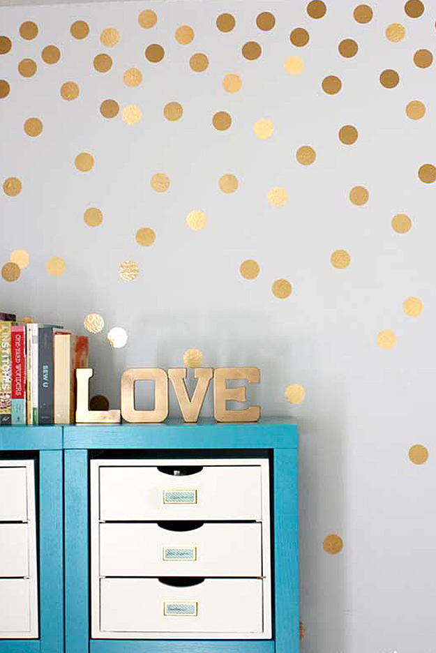 diy wall decor diy wall art ideas -gold metallic dot walls SZMCOSN