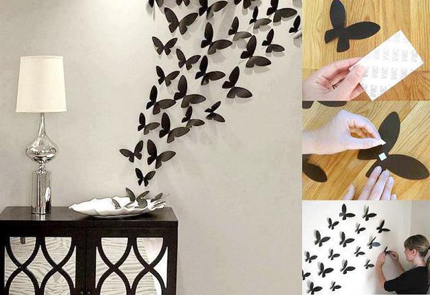 diy wall decor diy wall art ideas - paper butterflies wall decor ICXEDZS