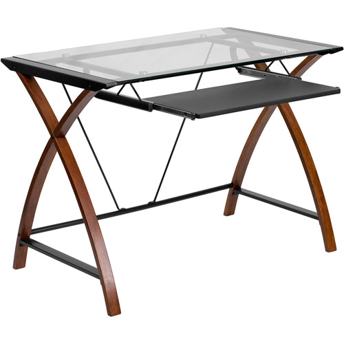 flash furniture glass computer desk with pull-out keyboard, cherry CPXJVEG