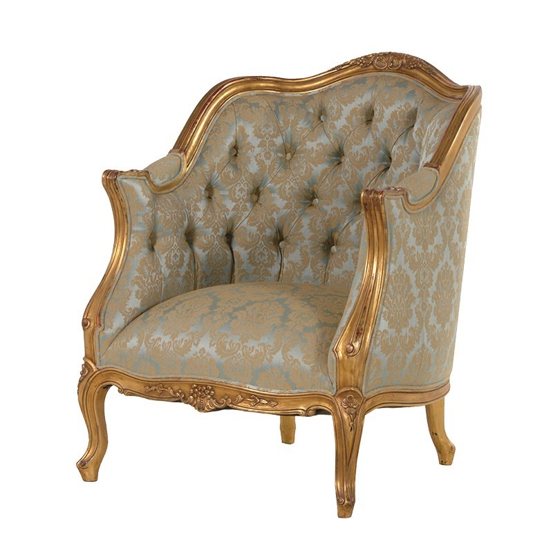 french furniture versailles armchair green-blue upholstery JKSPJSA