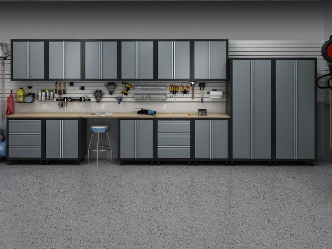 garage cabinets 2 car garage - design by size - idea gallery GXOUBXF