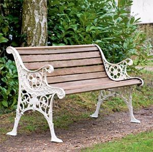 garden benches restored edwardian garden bench with wooden slats and cast iron frame ZLUPVVM