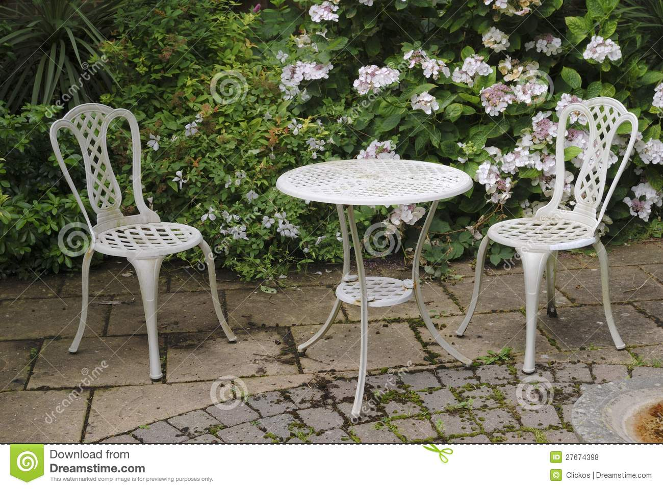 Garden Table And Chairs Bush Hydrangea Patio Ironwork Paving Plant Flower Chairless Uuzzgtw
