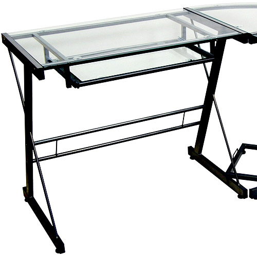 glass computer desk glass and metal corner computer desk, multiple colors - walmart.com PGBJRTR