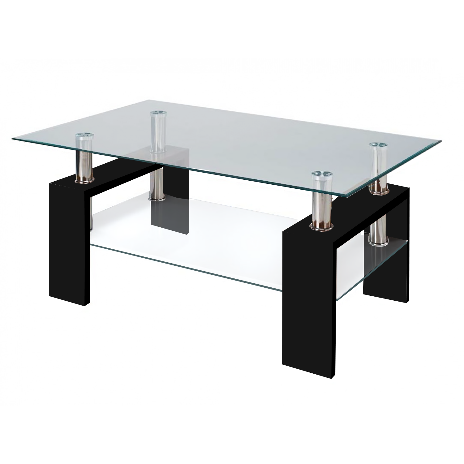 glass table modern glass black coffee table with shelf contemporary living room UMNYFHF