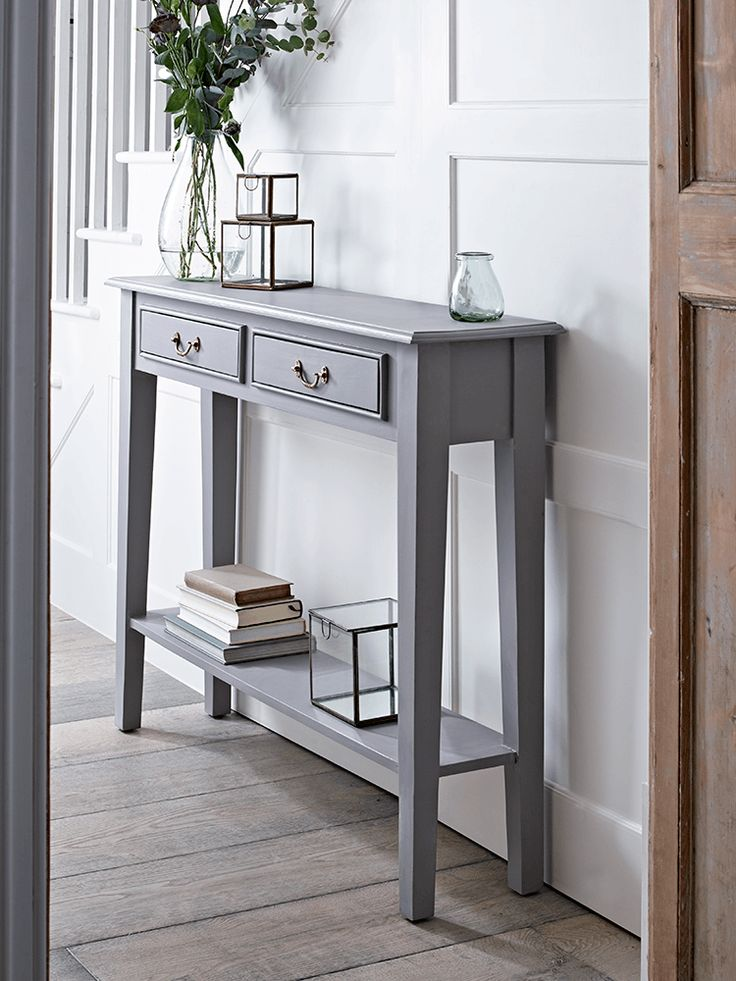 hallway table with a warm grey painted finish and two slender drawers with simple brassu2026 YKJUHJW