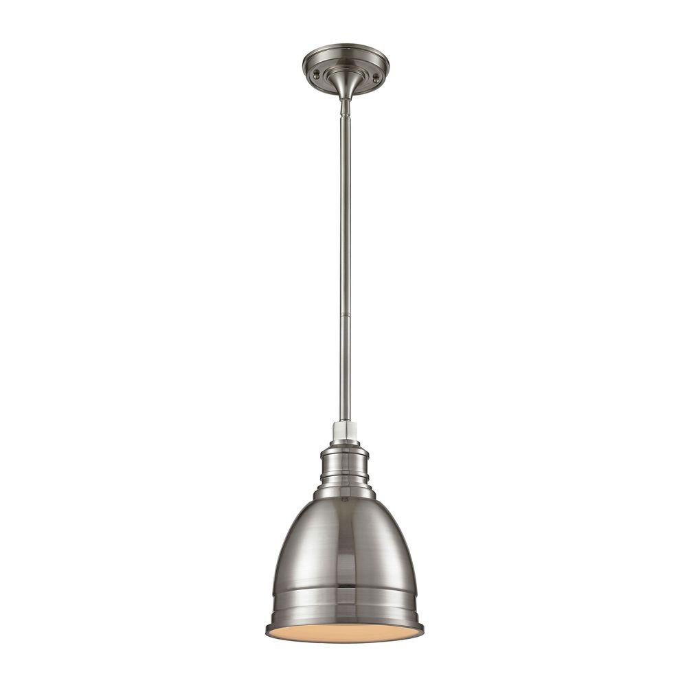 hanging lights 1-light die-cast aluminum hardware brushed nickel restoration pendant with  open bottom CSMZLBL
