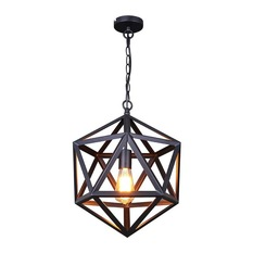 hanging lights lb lighting - iron cage pendant light, matte black, small - pendant lighting KRMJGDJ