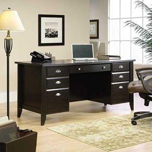 home office desks ... sauder wood executive desk - shoal creek SRKPFKB