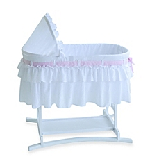 image of lamont home™ good night baby bassinet in white with half skirt AOVOBZP