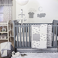 image of the peanut shell® cloud patchwork crib bedding collection in grey YSLYYJR