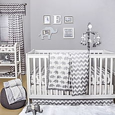 image of the peanut shell® elephant crib bedding collection in grey TZMRCRQ