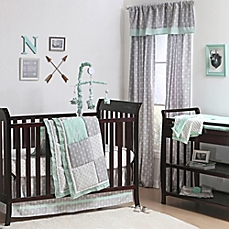 image of the peanut shell® woodland crib bedding collection in grey/mint AXRYULQ