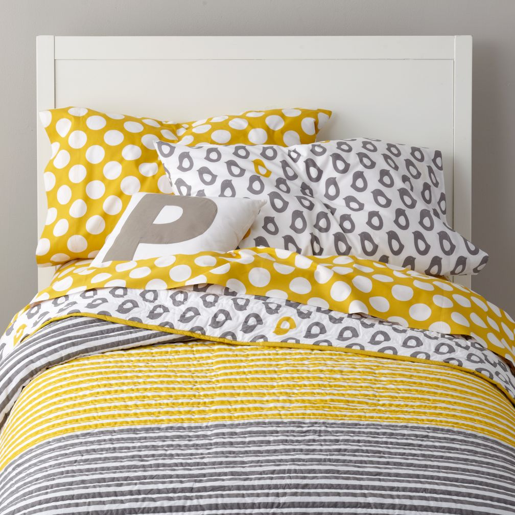 kids bedding: grey yellow peep bedding | the land of nod SJDMDIU