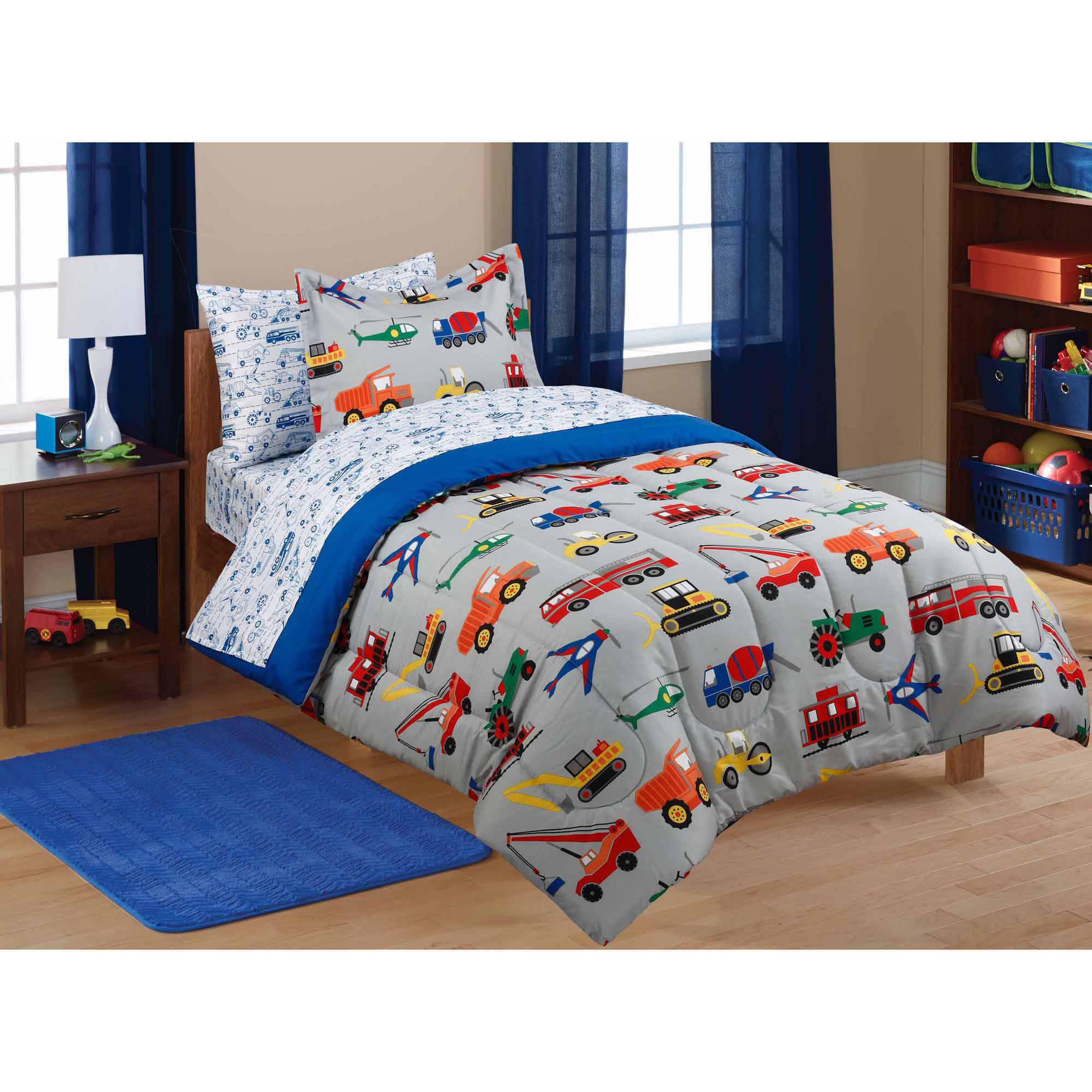 kids bedding mainstays kidsu0027 transportation coordinated bed in a bag - walmart.com MZBPAES