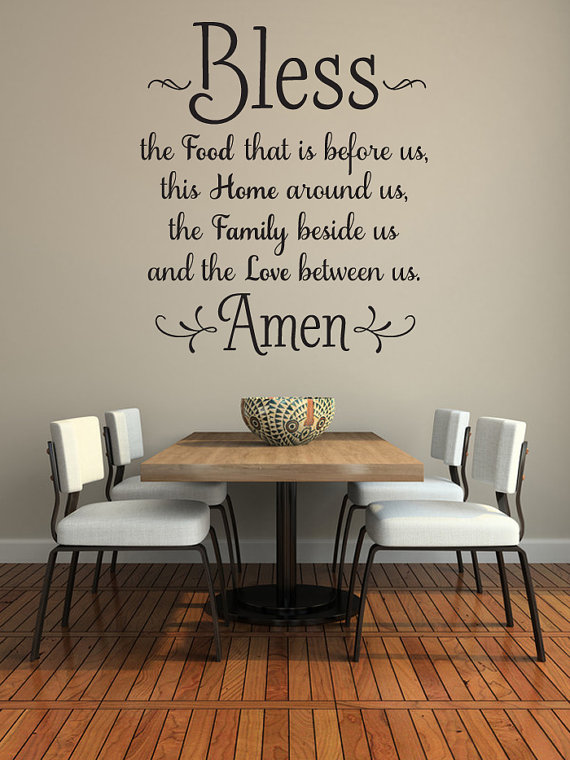 kitchen wall decor bless the food before us wall decal, kitchen wall art, dining room wall YFUIWVS