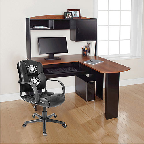 l shaped desk mainstays l-shaped desk with hutch and relaxzen 2-motor mid-back leather HDADCAI