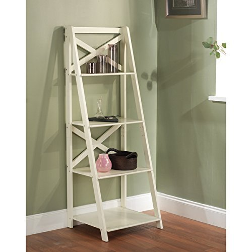 ladder shelves amazon.com: antique white 4-tiered shelf ladder bookcase varying shelves:  kitchen u0026 dining EOGPTCV