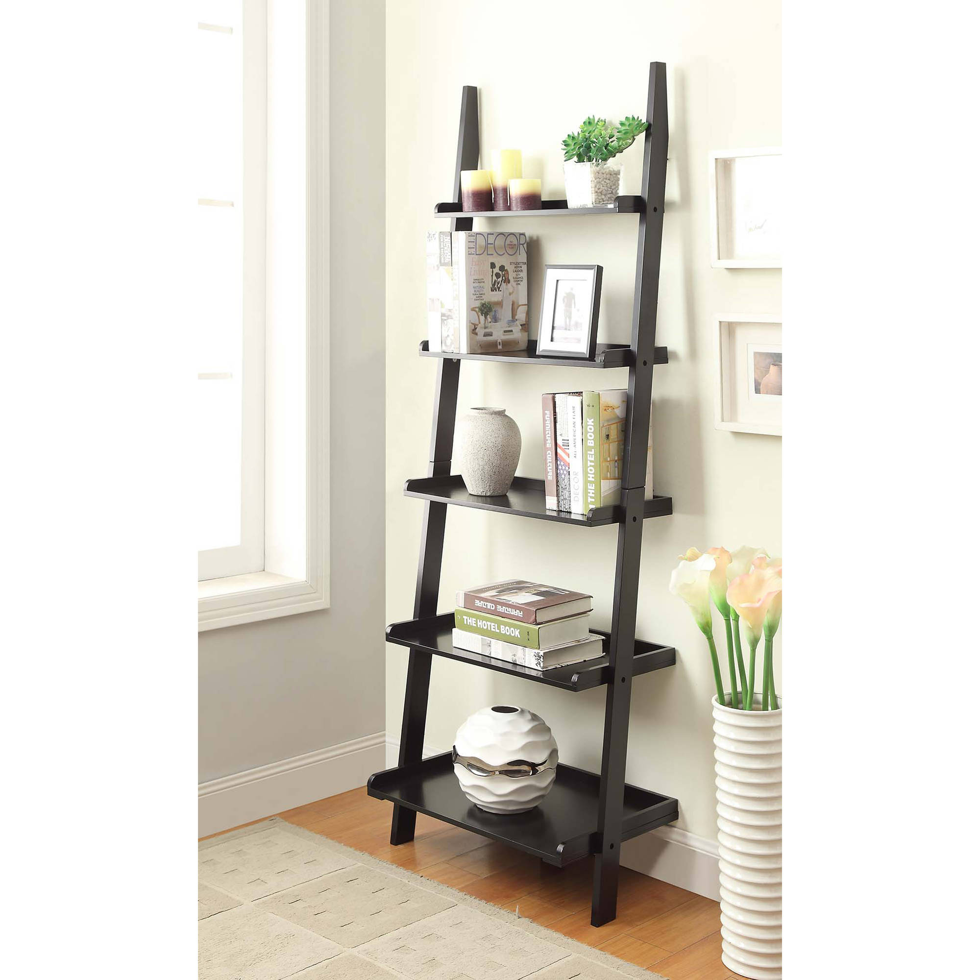 ladder shelves convenience concepts american heritage 5-shelf ladder bookcase, multiple  finishes - walmart.com SAISSCY