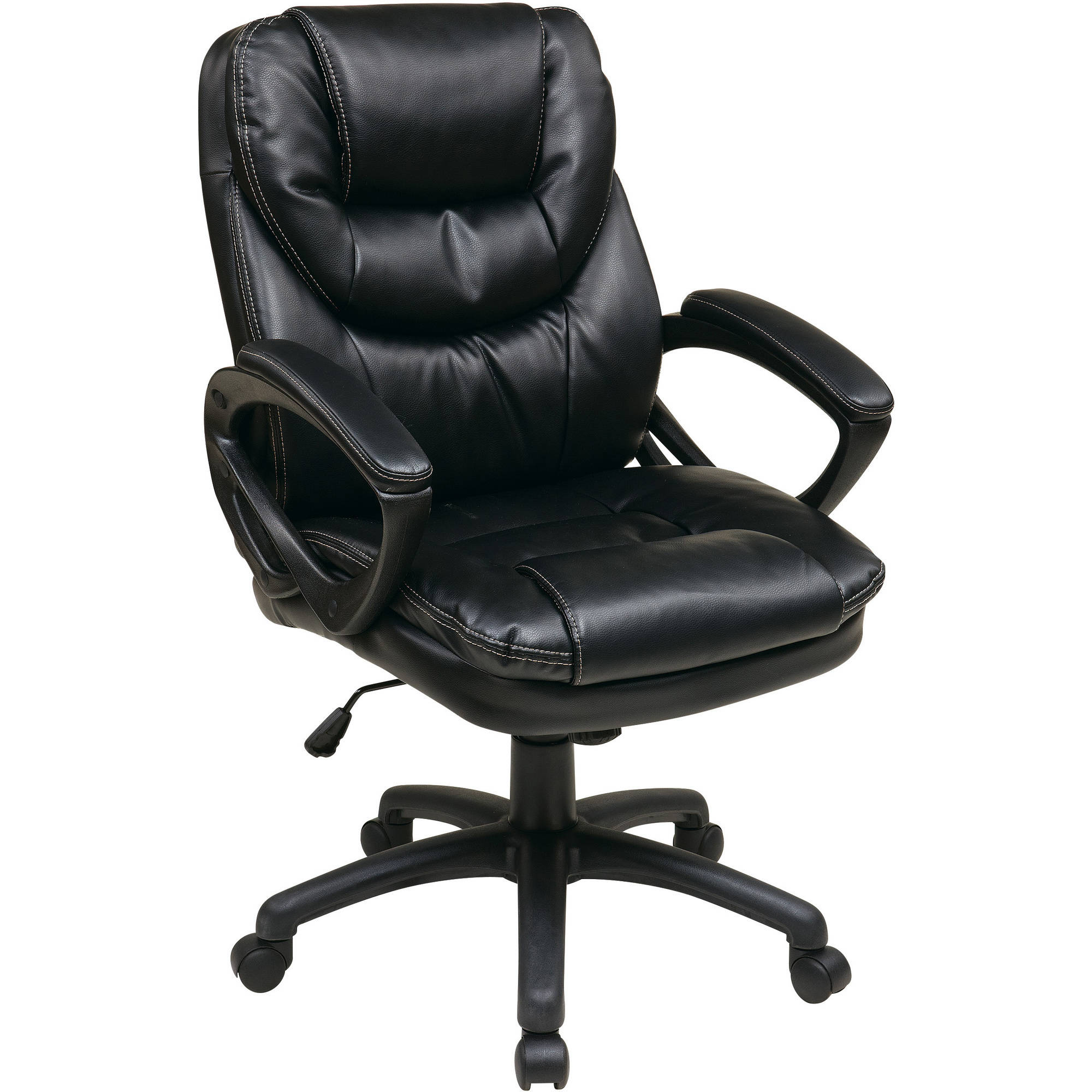 leather office chair office star faux-leather manageru0027s office chair with padded arms MENAWMJ