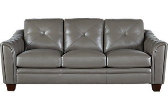 leather sofas cindy crawford home marcella gray leather sofa XLDEOCT