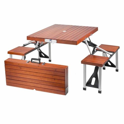 leisure season portable folding picnic table, medium brown IGSQCOK