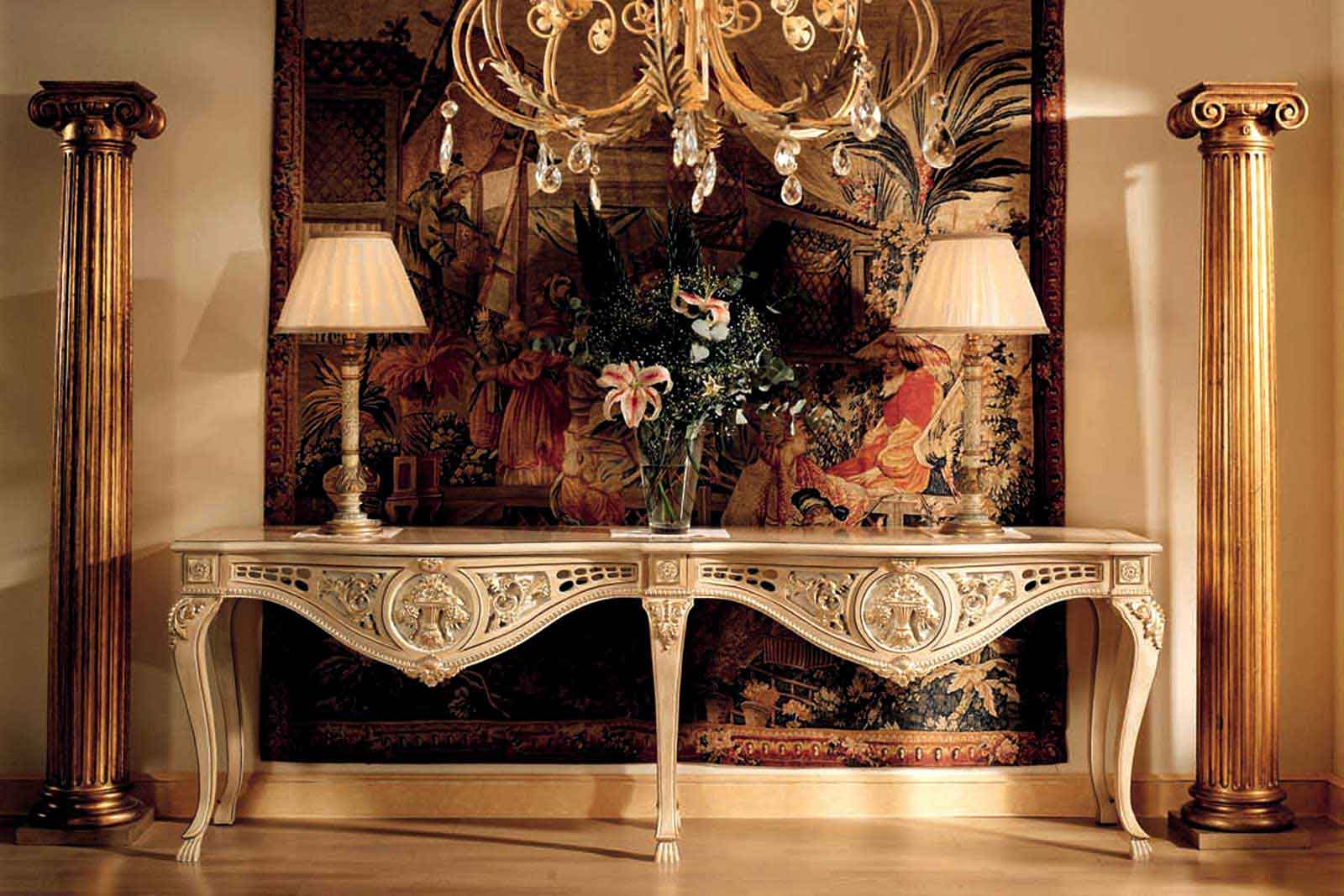 luxury furniture or2200 - double console mod.24073/9 of 250x55x81 carving, finished asta and HQULSBG