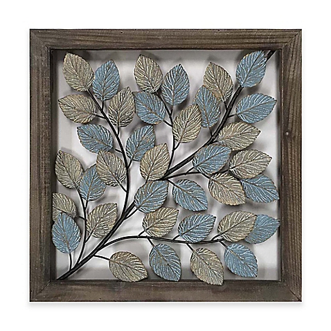 metal wall decor image of leaves metal wall art in blue u0026 cream UZZJMAQ