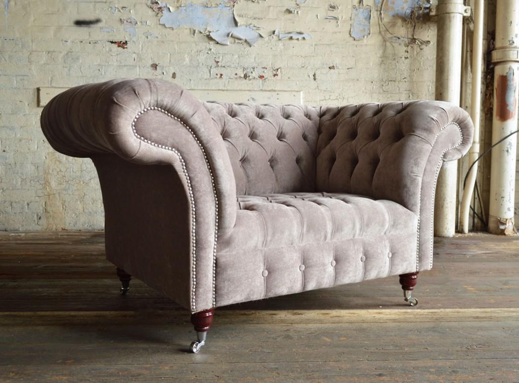 modern handmade deep buttoned mink velvet chesterfield snuggle chair CJRHNFH