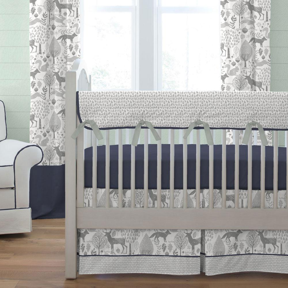navy and gray woodland crib bedding SWIBKTI