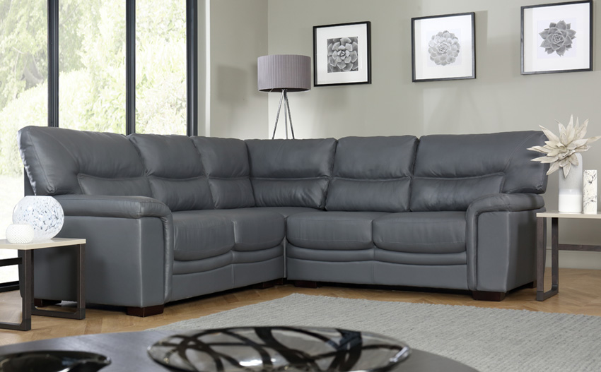 nelson grey leather corner sofa SXTUQEA