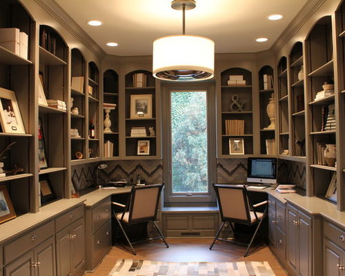 office decor inspiration for a transitional home office remodel in chicago with gray  walls NFTVSHI